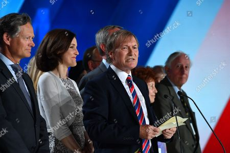 Sir David Amess MP speaks on stage with the British delegation during the annual gathering of Free Iran-Alternative 100 ASHRAF at the Villepinte exhibition North of Paris, France