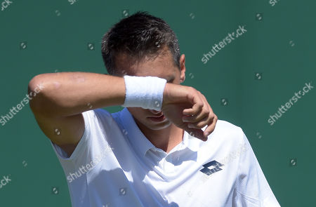 Sergiy Stakhovsky of Ukraine reacts during his first round match against Joao Sousa of Portugal during the Wimbledon Championships at the All England Lawn Tennis Club, in London, Britain, 02 July 2018.