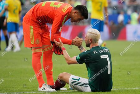Miguel Layun of Mexico and Goalkeeper Alfredo Talavera of Mexico