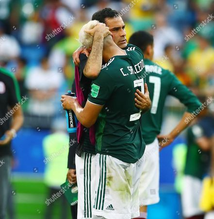 Stock Image of Rafael Marquez and Carlos Salcedo of Mexico look dejected at the end of the game