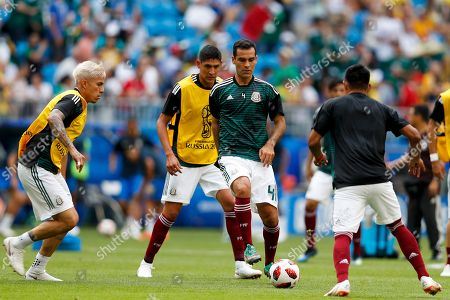 Mexico's Rafael Marquez plays the ball during the warm up prior the round of 16 match between Brazil and Mexico at the 2018 soccer World Cup in the Samara Arena, in Samara, Russia