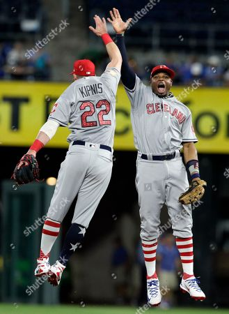 Jason Kipnis, Rajai Davis. Cleveland Indians second baseman Jason Kipnis (22) and center fielder Rajai Davis, right, celebrate following a baseball game against the Kansas City Royals at Kauffman Stadium in Kansas City, Mo., . The Indians defeated the Royals 9-3