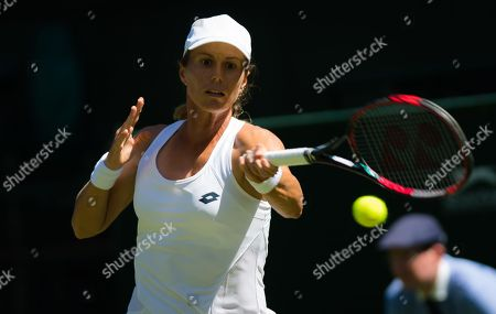Varvara Lepchenko of the United States in action during the first round at the 2018 Wimbledon Championships Grand Slam tournament