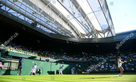 Empty royal box on Centre Court with Britain's Katy Dunne in action during her Ladies' Singles first round match