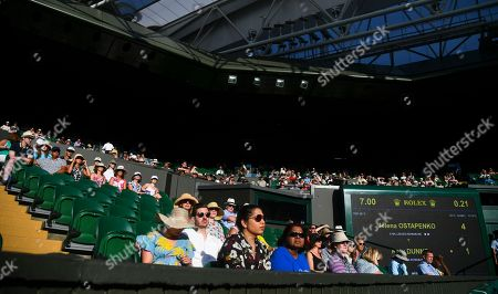 Empty seats on Centre Court during the Ladies' Singles first round match between Jelena Ostapenko and Katy Dunne
