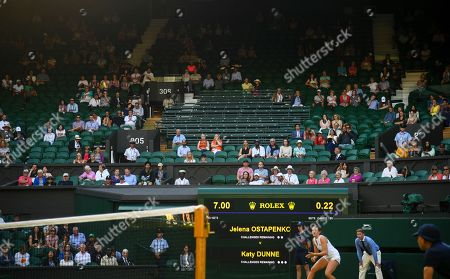 Empty press seats on Centre Court during the Ladies' Singles first round match between Jelena Ostapenko and Katy Dunne