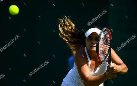 Stock Image of Gabriella Taylor in action during her Ladies' Singles first round match