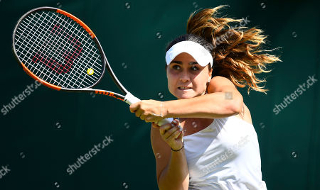 Gabriella Taylor in action during her Ladies' Singles first round match