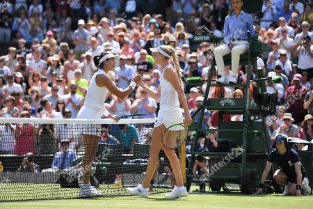 Garbine Muguruza celebrates victory in her Ladies' Singles first round match against Naomi Broady