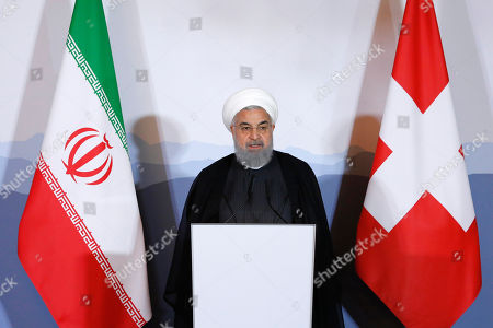 Iranian President Hassan Rohani gives a speech during an innovation and industry forum during Rohani's official visit to Switzerland in Bern, Switzerland, 03 July 2018. Rouhani is on a two-days visit to Switzerland.