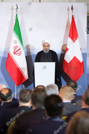 Iranian President Hassan Rohani speaks during an innovation and industry forum during Rohani's official visit to Switzerland in Bern, Switzerland, 03 July 2018. Rouhani is on a two-days visit to Switzerland.