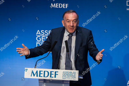 French Medef head Pierre Gattaz delivers a speech during the general assembly to elect the new head of the association of the French employers in Paris, France, 03 July 2018. Gattaz was the president of the Medef in the last five years.