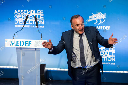 French Medef head Pierre Gattaz delivers a speech during the general assembly for  the election of the new head of the association of the French employers in Paris, France, 03 July 2018. Gattaz was for 5 years the president of the Medef.