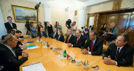 Stock Photo of Sergey Lavrov, Richard Shelby. Russian Foreign Minister Sergey Lavrov, left, listens to U.S. Sen. Richard Shelby, R-Ala., third right, during his meeting with U.S. congressional delegation as U.S. Ambassador to Russia Jon Huntsman Jr. attends the talks in Moscow, Russia, . The U.S. congressional delegation is scheduled to meet with senior Russian officials amid preparations for a summit between the nations' presidents