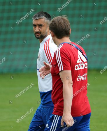 Russian player Aleksandr Samedov (L) attends a training session held at the Federal Sports Centre Novogorsk, Novogorsk, Russian Federation, 03 July 2018. Russia will face Croatia on 07 July in a quarter final match of the FIFA World Cup 2018.