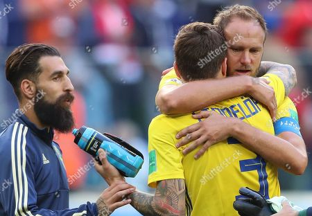 Stock Photo of Jimmy Durmaz of Sweden, Victor Lindelof of Sweden and Andreas Granqvist of Sweden