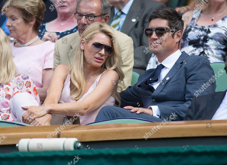 Tess Daley and Vernon Kay in the Royal Box on Centre court at Wimbledon, Wimbledon Championships 2018, Day Two, All England Lawn Tennis & Croquet Club, Church Rd, London, United Kingdom - 3rd July 2018