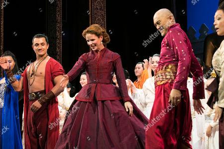 Stock Picture of Dean John-Wilson (Lun Tha), Kelli O'Hara (Anna) and Ken Watanabe (The King) during the curtain call