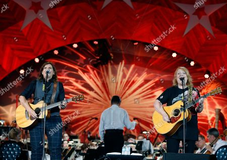 The Indigo Girls -  Amy Ray and Emily Saliers during rehearsal for the Boston Pops Fireworks Spectacular in Boston