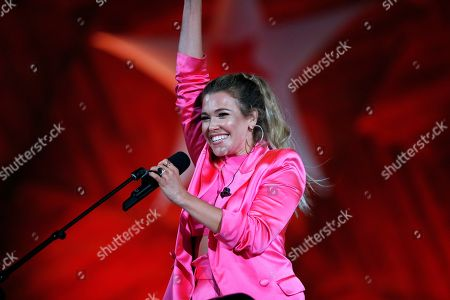 Rachel Platten performs during rehearsal for the Boston Pops Fireworks Spectacular in Boston