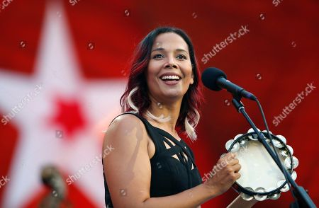 Rhiannon Giddens performs during rehearsal for the Boston Pops Fireworks Spectacular in Boston