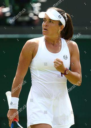 Alexandra Dulgheru celebrates set point during her Ladies' Singles second round match
