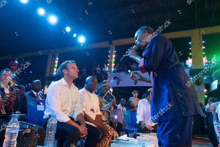 Emmanuel Macron and Femi Kuti at the Afrika Shrine in Lagos