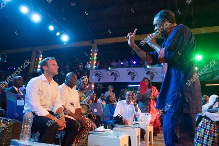 Stock Picture of Emmanuel Macron and Femi Kuti at the Afrika Shrine in Lagos