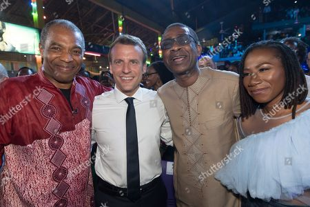 Stock Image of Femi Kuti, Emmanuel Macron, Youssou N'dour and a guest at the Afrika Shrine in Lagos