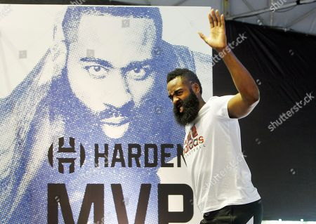 James Harden waves to fans during a media event in Taipei, Taiwan