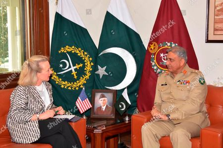 Alice Wells, Qamar Javed Bajwa. Released by the Pakistani Inter Services Public Relation Department, U.S. deputy assistant secretary of state, Alice Wells, meets with Pakistani army chief Gen. Qamar Javed Bajwa to discuss how to ensure peace in Afghanistan following a recent cease-fire between the Taliban and Kabul, in Rawalpindi, Pakistan. Pakistan is believed to have played a role in ensuring the first truce in Afghanistan's brutal 17-year war when Kabul and insurgents separately but peacefully celebrated the Muslim feast of Eid al-Fitr. However, violence has later resumed
