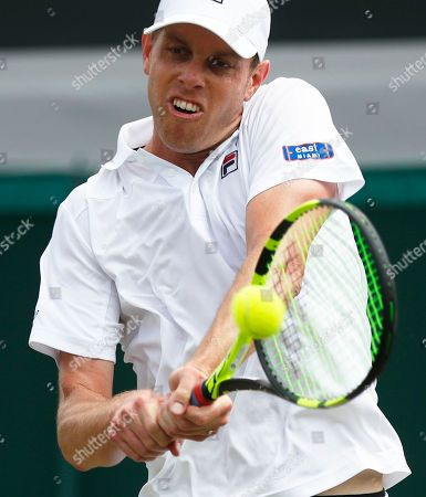 Sam Querrey of USA returns to Sergiy Stakhovsky of Ukraine in their second round match during the Wimbledon Championships at the All England Lawn Tennis Club, in London, Britain, 04 July 2018.