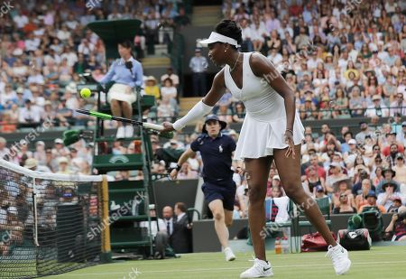 Venus Williams of the US taps the ball over the net during the women's singles match against Alexandra Dulgheru of RomaniaF on the third day at the Wimbledon Tennis Championships in London