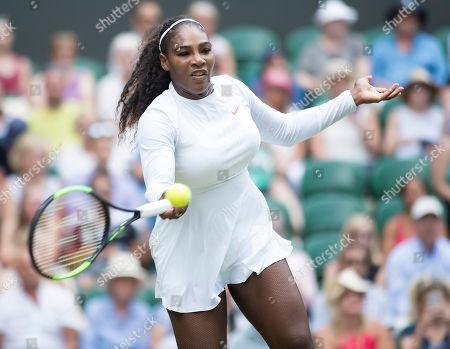 Serena Williams (USA) in action during her second round match against Viktoriya Tomova (BUL), Wimbledon Championships 2018, Day Three, All England Lawn Tennis & Croquet Club, Church Rd, London, United Kingdom - 4th July 2018