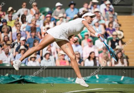 Viktoriya Tomova (BUL) in action during her second round match against Serena Williams (USA), Wimbledon Championships 2018, Day Three, All England Lawn Tennis & Croquet Club, Church Rd, London, United Kingdom - 4th July 2018