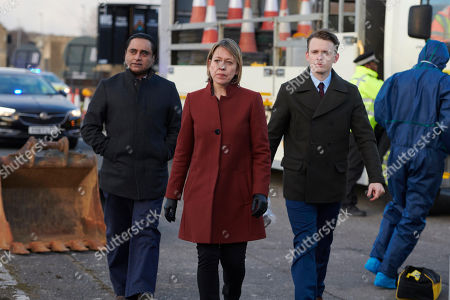 Stock Photo of Sanjeev Bhaskar as DI Sunny Khan, Nicola Walker as DCI Cassie Stuart and Lewis Reeves as DC Jake Collier.
