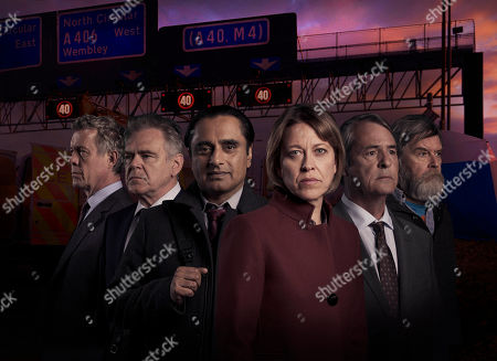 L-R: Alex Jennings as Dr Tim Finch, Kevin McNally as James Hollis, Sanjeev Bhaskar as DI Sunny Khan, Nicola Walker as DCI Cassie Stuart, Neil Morrissey as Pete Carr and James Fleet as Chris Lowe.