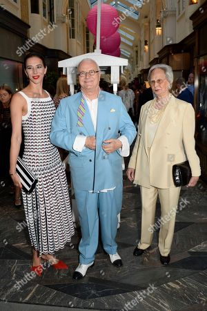 Kristina Blahnik, Manolo Blahnik and Evangeline Blahnik at his men's store opening