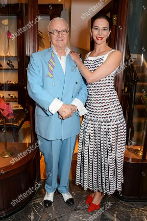 Manolo Blahnik and Kristina Blahnik at his men's store opening