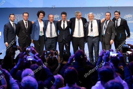 Fabrice Le Sache, Frederique Motte, Dominique Carlac'h, Pierre Gattaz, Geoffroy Roux de Bezieux, Alexandre Saubot, Patrick Martin, Pierre Brajeux et Olivier Klotz at the general election assembly.
