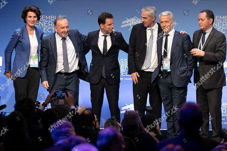 Dominique Carlac'h, Pierre Gattaz, Geoffroy Roux de Bezieux, Alexandre Saubot, Patrick Martin, Pierre Brajeux and Olivier Klotz at the general election assembly.