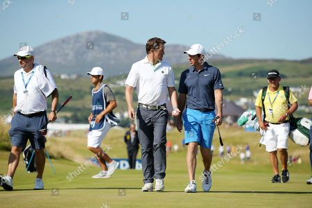 Rory McIlroy on the 1st green with Tony McCoy at the Pro-Am at Ballyliffin.