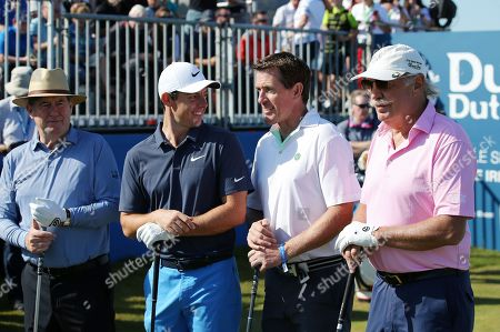 Rory McIlroy on the 1st tee with his Tony McCoy, JP McManus and Dermot Desmond at the Pro-Am at Ballyliffin.