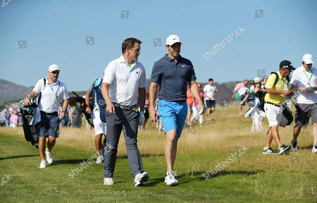 Rory McIlroy on the fairway with Tony McCoy at the Pro-Am at Ballyliffin.