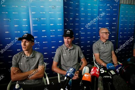 Sky Team riders Michal Kwiatkowski (L), Chris Froome (C) and Team Sky director of cycling, Sir Dave Brailsford (R) attend a  press conference of the 105th edition of the Tour de France 2018 cycling race in Saint-Mars-La-Reorthe, France, 04 July 2018. The 105th edition of the Tour de France will start in Noirmoutier-en-l'Ile on 07 July 2018.