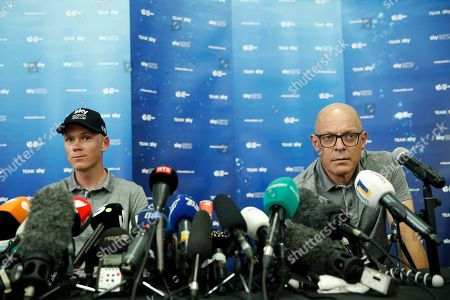 Sky Team rider Chris Froome (L) and Team Sky director of cycling, Sir Dave Brailsford (R) speak during a press conference of the 105th edition of the Tour de France 2018 cycling race in Saint-Mars-La-Reorthe, France, 04 July 2018. The 105th edition of the Tour de France will start in Noirmoutier-en-l'Ile on 07 July 2018.