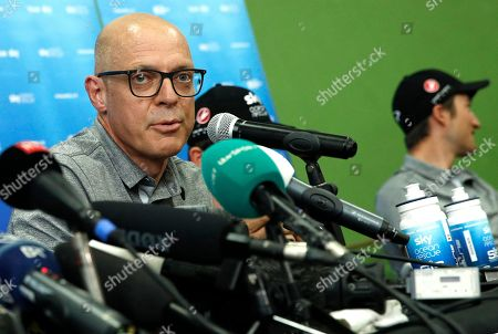 Team Sky director of cycling, Sir Dave Brailsford speaks during a press conference of the 105th edition of the Tour de France 2018 cycling race in Saint-Mars-La-Reorthe, France, 04 July 2018. The 105th edition of the Tour de France will start in Noirmoutier-en-l'Ile on 07 July 2018.