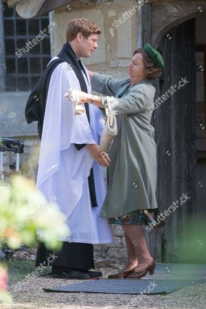 Actress Tessa Peake-Jones filming her last scene with James Norton in the village of Grantchester near Cambridge on Tuesday afternoon for the ITV drama Grantchester.