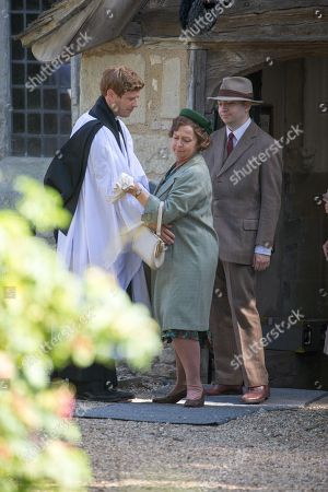 Actress Tessa Peake-Jones filming her last scene with James Norton in the village of Grantchester near Cambridge on Tuesday afternoon for the ITV drama Grantchester