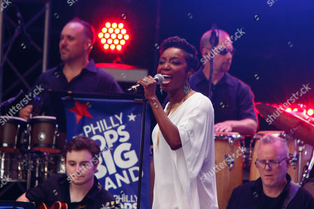 Gospel and Broadway singer Heather Headley performs at a concert on the Benjamin Franklin Parkway to celebrate the July 4th holiday.